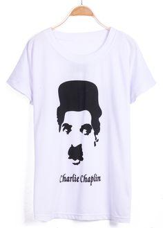White Short Sleeve Chaplin Print Loose T-Shirt - Sheinside.com