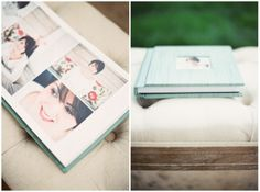 Aqua Teal Wedding Album. Aqua Silk with Cameo cut out on Cover. Kristen Lynne Photography. RedTree Albums.