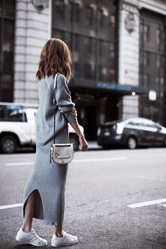 grey knit dress with white sneakers | Harper and Harley
