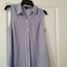 Short sleeve  top Buttoned  up. Blue and white stripes The Limited Tops Button Down Shirts