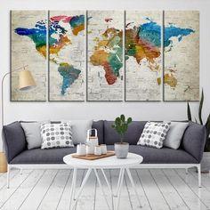 88802 - Large Wall Art World Map Canvas Print- Custom World Map Push Pin Wall Art- Custom World Map Canvas Poster Print- Personalized Wall Art