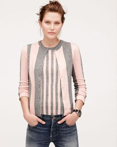 J.Crew Collection cashmere cardigan in wide stripe.