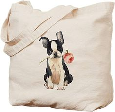 Boston Terrier Cotton Shopping Tote Bag with Gusset and Long Handles b