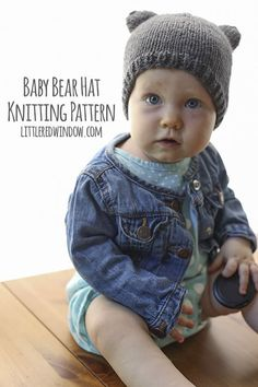 Baby Bear Hat Knitting Pattern, a cute and simple little baby hat with ears in sizes from newborn to toddler! Baby Knitting Patterns, Baby Hat Patterns, Baby Hats Knitting, Knitting For Kids, Easy Knitting, Knitted Hats, Sweater Patterns, Hat Crochet, Knitting Projects