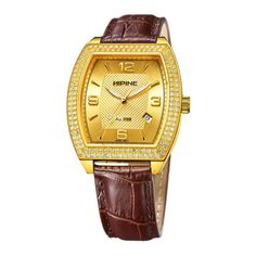 Hipine Golden Watches For men with brown leather band