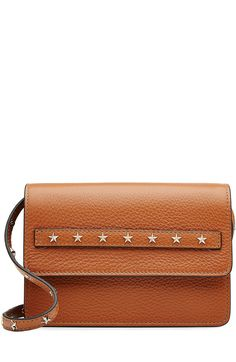 RED VALENTINO Leather Shoulder Bag with Stud Embellishment. #redvalentino #bags #shoulder bags #leather #