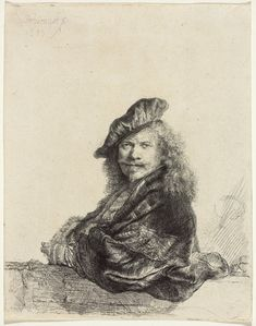 Rembrandt van Rijn , Self-portrait Leaning on a Stone Sill, 1639, etching on laid paper, 20.6 x 16.3 cm trimmed to platemark, National Gallery of Canada