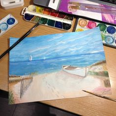 watercolor sea / ocean beach with boat painting
