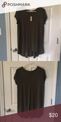 Tunic Hi/Low Blouse Pretty olive green tunic blouse. Brand new with tags. Slightly longer with pleating in the back. Perfect over a pair of white skinnies with a pair wedge sandals. Will consider trade. Make an offer Tops Tunics