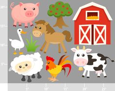 Cute Farm Animals - BUY 2 GET 1 FREE - Digital Clip Art - Personal and Commercial Use - barnyard animals cow barn rooster horse pig. $4.75, via Etsy.