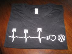 VW Volkswagon Piston Heartbeat T-Shirt Unisex Adult I LOVE VW