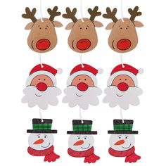 Wooden Christmas Tree Decorations Father Xmas Rudolph Snowman Set of 9 #TheChristmasBoutique