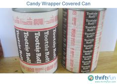 Many years ago, I saw a project similar to this, done by Martha Stewart.  She used Mary Jane candy wrappers, decoupaged onto a box, I think.  For this project, I used Tootsie Roll wrappers.