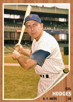 1962 Topps Gil Hodges Baseball First, Mets Baseball, Baseball Park, Baseball Players, Ny Mets, New York Mets, First World Series, Old Baseball Cards, Polo Grounds