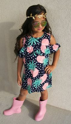 Navy Coral Pineapple Off Shoulder Dress #boutique-outfits #dresses #new…
