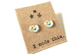 OOAK Rainbow Heart Glass Tiny Tile Post Earrings by HeidiKindFinds