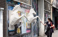"""To promote Dry the River's next single """"No Rest,"""" the band teamed up with agency FOAM and their intern Xavier Barrade to create 3D paper-crafted horses, which were glued as posters on building walls in London."""