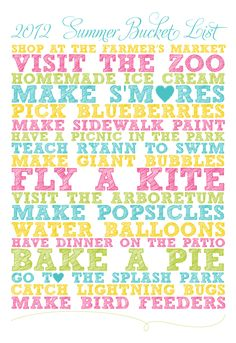 Fun things to do in the summer.