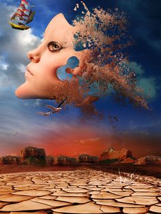 ♂ Dream Imagination Surrealism Impressive and Creative Digital surreal art face fly in the air with birds