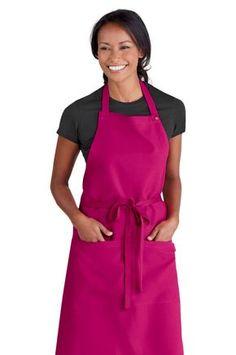 Simon Jersey hot pink bib apron from £6.29 // Waiter apron, waitress apron, bar apron, hospitality uniform, waiting uniform, bar uniform, perfect for chefs, kitchen staff, catering, retail, cafes, coffee shops etc.