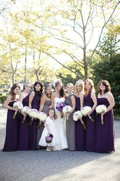 purple bridesmaids dresses and gray maid of honor dressses...this is what i'm doing!