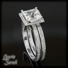 White Sapphire Engagement Ring with Diamonds by LaurieSarahDesigns
