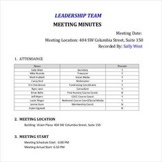 Minutes For Organization Meeting  Minutes Templates