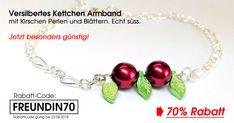 Versilbertes Kettchen Armband mit Kirschen Perlen und Blättern, echt süss. Und jetzt besonders günstig. Aber nur 7 Tage lang! Mit dem Rabatt-Code FREUNDIN70 erhältst bei der Bestellung 70% Rabatt! #schmuck #armband #kette #kirschen #silber #blätter #rabatt #sale #shop #onlineshop #michaleo #perlen #angebot
