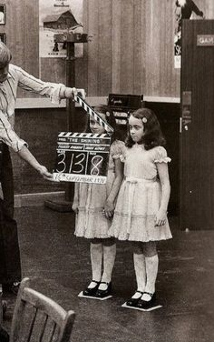 "On the set of ""The Shining"" 1978< I truly don't like evil children in movies, they freak me out, and this one is the mother of all creepy."