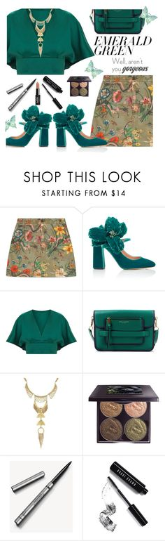"""Going Green"" by juliehooper ❤ liked on Polyvore featuring Gucci, Rochas, Marc Jacobs, Lucky Brand, Chantecaille, Burberry, Bobbi Brown Cosmetics, NYX, emeraldgreen and polyvoreeditorial"