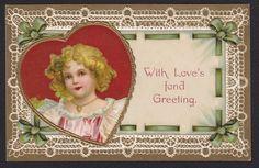 Valentine-Clapsaddle-Kopal-Girl-Locket-Lace-Heart-Antique Postcard #ValentinesDay