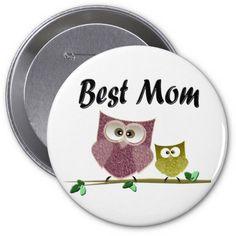 Best Mom Cute Owls Art Button