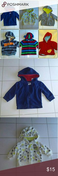 Bundle of Six Infant Hoodies 6 hoodies newborn sizes and Various brand names.  Garanimals Navy Blue red Lining Carter's gray hoodie yellow lining Carter's pattern hoodie with ears Blue Jean Red hoodie with warm lining Carter's striped hoodie Rookie Logo Circo red blue green striped hoodie Excellent like new condition. Carter's Shirts & Tops Sweatshirts & Hoodies