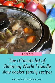 The Ultimate list of Slimming World Friendly slow cooker family recipes - Rene Jacinthe - Healthy recipes Slow Cooker Recipes Family, Slow Cooker Desserts, Family Meals, Family Recipes, Slow Cooker Slimming World, Slimming World Snacks, Slimming World Recipes, Easy Healthy Recipes, Whole Food Recipes