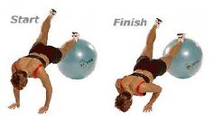 Push-Ups with Feet on Exercise Ball Chest, Core Stabilization, Shoulders ...place your feet and ankles on the ball and your palms on the floor, hands aligned under shoulders. Lower chest toward floor, keeping your upper arms and elbows close to ribcage as your arms bend. Release and repeat