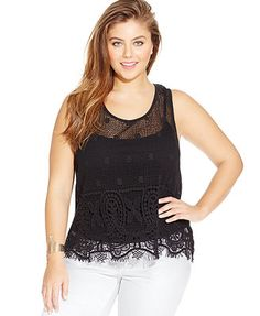 Jessica Simpson Plus Size Mckenna Lace Shell