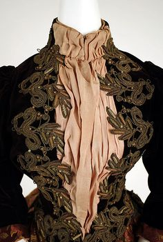 Walking dress, 1885-1890, silk and metallic thread, probably American. Bodice detail.