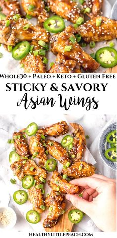 These Sticky Asian Chicken Wings topped with sesame seeds and fresh jalapeno slices. This dish is Whole30, Keto, Paleo, Gluten-Free and Dairy-Free.