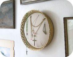 jewelry display holder from repurposed vanity tray