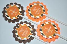 Argyle Birthday Cupcake Toppers - Argyle, Halloween, Autumn Birthday Party Decorations - Fall Colors Brown, Orange, Yellow - Set of 12 by sosweetpartyshop on Etsy https://www.etsy.com/listing/112138269/argyle-birthday-cupcake-toppers-argyle