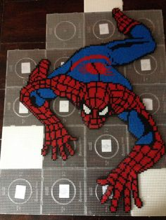 Spiderman hama perler bead art by Dorte Marker