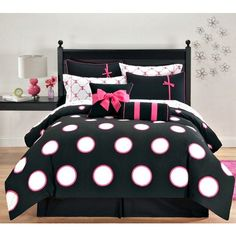 Hot Pink Black Polka Dots Full Comforter Set (10 Piece Bed In A Bag) ($132) ❤ liked on Polyvore featuring home, bed & bath, bedding, hot pink bedding, bright pink bedding, black bed in a bag, black polka dot bedding and hot pink polka dot bedding