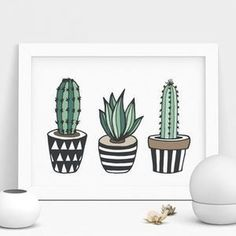 Cactus Print Illustrated Set In Green - Cactus Print Illustrated Set The Effective Pictures We Offer You About cactus kawaii A quality pic - Cactus Drawing, Cactus Painting, Cactus Art, Green Cactus, Cactus Doodle, Decoration Cactus, Diy Decoration, Small Canvas, Painting Inspiration