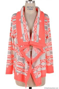 Thick Tribal Aztec Print Cardigan Sweater-Neon Coral, White & Grey