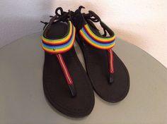 1 of 11: African-Arena Maasai Masai Beads Leather Handmade Rainbow  Sandals Made in Kenya