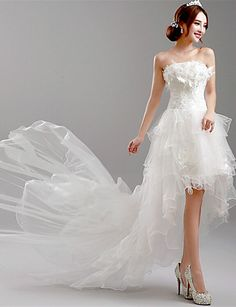 A-line Wedding Dress Asymmetrical Strapless Tulle with 4028197 2016 – $166.79