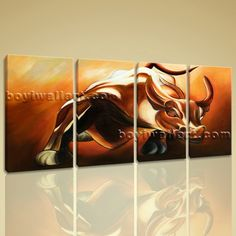 "Large Framed Giclee Print High Revolution Bull Wall Street Money Abstract Art Extra Large Wall Art, Gallery Wrapped, by Bo Yi Gallery 59""x28"". Large Framed Giclee Print High Revolution Bull Wall Street Money Abstract Art Subject : Abstract Style : Contemporary Panels : 4 Detail Size : 14""x28""x4 Overall Size : 59""x28"" = 150cm x 71cm Medium : Giclee Print On Canvas Condition : Brand New Frames : Gallery wrapped [FEATURES] Lightweight and easy to hang. High revolution giclee…"