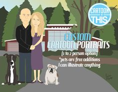 Custom1 to 2 Person Cartoon Portrait 11x17 Print by CartoonThis on Etsy