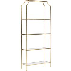 """Chloe 5 Shelf Etagere, Gold - Storage  Each shelf is 18.5""""h with the top shelf at 22""""h.  Shown InGold Leaf Material DetailBeveled Glass Dimensions36w 12d 84h"""
