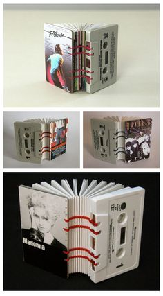 Cassette Tape Books by Erin Zamrzla (Spray paint some white / gray / black; use small, colorful zip ties (or black))